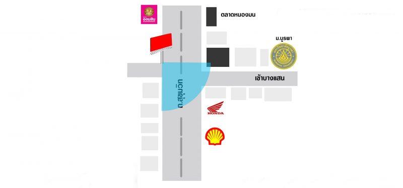 แผนที่ป้ายโฆษณาชลบุรีสี่แยกบางแสน