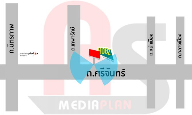 แผนที่ป้ายโฆษณาหน้าห้าง HUGZ MALL