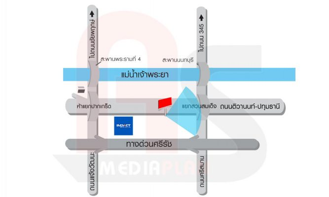 แผนที่ป้ายโฆษณาบิลบอร์ด นนทบุรี ขาเข้าเมือง